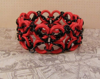 Celtic Labyrinth Stretch Bracelet in Red & Black
