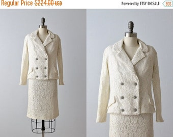 SALE Lace Wedding Suit / 1960s Lace Dress Set /  Formal Dress / Ivory / The California Room