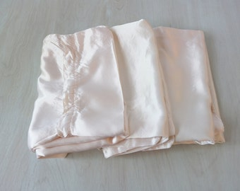 Vintage 1940s Satin Set of 3 Large Zippered Pillow Cases / Hollywood Regency /Cottage Shabby Chic Bedding / Extra Long