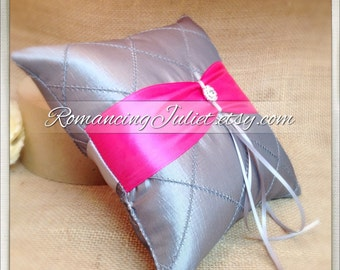 Pintuck Taffeta Diamonds Ring Bearer Pillow with Rhinestone Accent..You Choose the Colors..shown in silver gray/hot pink