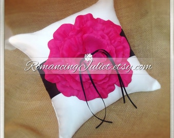 10 inch Satin and Sash Ring Pillow with Large Handmade Rose with Rhinestone..You Choose The Colors..shown in white/black/hot pink fuschia