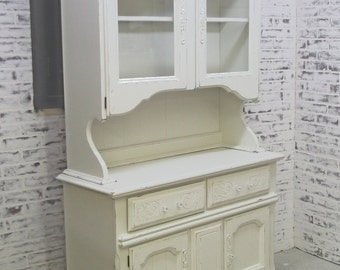 China Cabinet / Buffet with Hutch, Distressed White Cottage Style- CB906 Shabby Farmhouse Chic