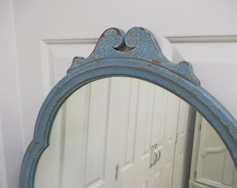 French Bistro Mirror, Vintage Distressed Blue Painted - MR301 Shabby Cottage Farmhouse Chic, Antique