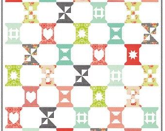 SUMMER SALE - Factory Cut - Spool Sampler Quilt Kit - Handmade fabric by Bonnie and Camille - KIT55140