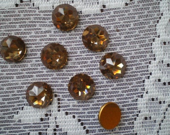 Two Stunning Light Smoked Topaz Faceted Flat Backed Gold Foiled Rhinestones 15mm