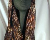 Glowing Silk Velvet Devore Cowl--brown, beige, gold, and black paisley