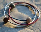 Red White and Blue Beach Stone Leather Bangle Bracelets, set of 3 - Fourth of July, USA, Americana, Patriotic Jewelry