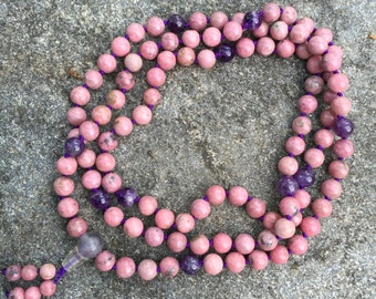 Rhodonite 108 Bead Mala Necklace