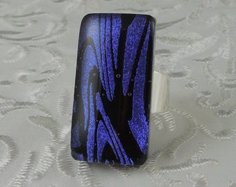 Large Ring - Dichroic Fused Glass Ring - Metal Ring - Glass Ring - Geekery Jewelry - Big Jewelry - Fused Glass Ring - Large Jewelry X4074