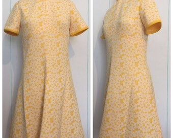 Yellow Floral Sheath Dress Size 8-10