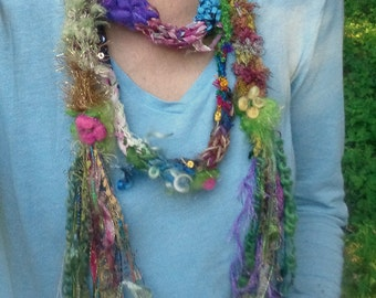 scarf lariat hand knit fantasy summer fiber adornment - one and only party scarf