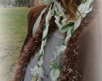 silk scarf lariat fantasy long art yarn garland scarf - solstice snow queen of enchanted leaves