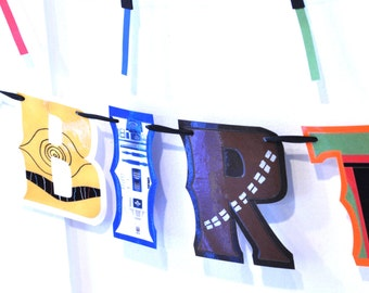 C3PO Birthday Banner, Storm Trooper Party Supplies, Star Wars Banner WITH LiGHT SABER GARLAND, Star Wars Birthday Party Supplies, R2D2 Decor