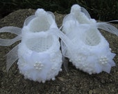 baptism christening baby girl shoes booties white tulle ribbon pearls