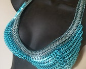 Chainmail Bikini Top - Sky Blue with Light Blue Rubber Size Small