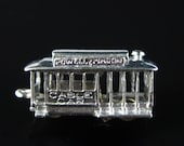 Charm, Cable Car, Sterling Silver, Powell Mason, Museum, San Francisco, Mechanical Parts Charm