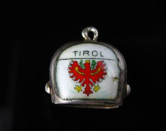 Charm, 800 Silver, Tirol, Enamel, Cow Bell, Travelers Charm, Eagle Coat of Arms, Charm, Romania Silver