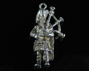 Charm, Sterling Silver, Scottish, Bagpipes Player, Detail, Ornate Silver Large Charm