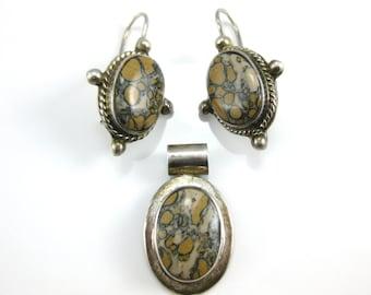Vintage Leopard Skin Agate Sterling Silver Pendant and Earrings Set