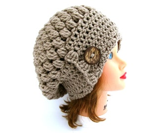 Taupe Cloche - Slouchy Hat With Button - Crochet Cloche - Flapper Hat - 1920s Cloche hat - Chunky Beanie - Women's Headwear