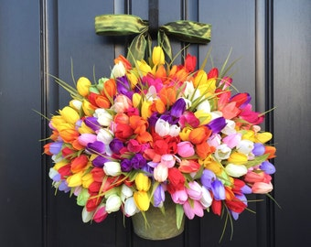 Large Bucket of Tulips, Bouquet of Flowers, Spring Tulips XXL, Front Door Decor Country French, Multi Colored Tulips, Wreaths