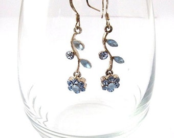 Silver Earrings with Blue Crystal