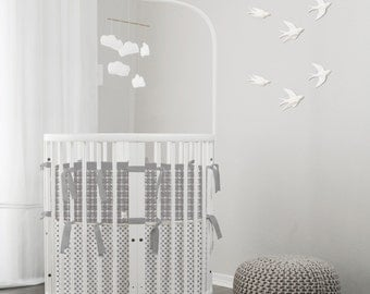 Custom Baby Bedding & Stokke Bedding // Gray // 100% Premium Combed Percale Cotton // Choose your fabric // Choose your trim