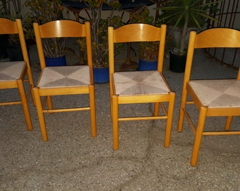 Vintage Danish Teak Dining Chairs With Rope Cord Seats Shaker Woven Seats  Fibre Rush