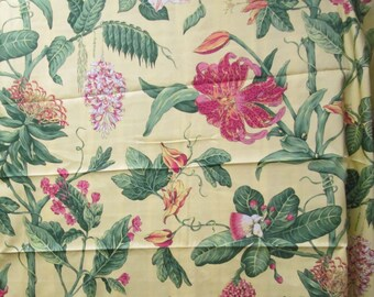 "Thibaut Fabric 57x57"" Tropical Botanical Floral Fabric Island Flora Flowers Orange Peach Green Yellow Home Decorator Remnant Yardage"