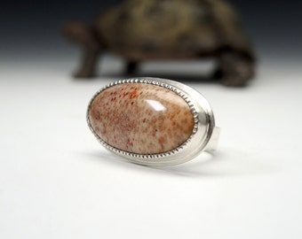 Petrified Wood Ring, Fossil Palm Wood, Sterling Silver, Fossil Ring, Handmade