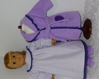 Lavender Fleece Robe and Slippers with Flannel Nightgown, Fits 18 Inch American Girl Dolls
