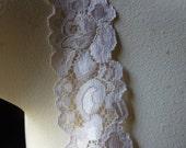 3 yds. Ivory Blush Stretch Lace for Lingerie, Headbands, Garters STR 1013ivbl