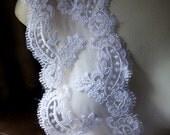 WHITE Eyelash Scalloped Lace Trim for Bridal, Veils, Garments AL 1WIDE