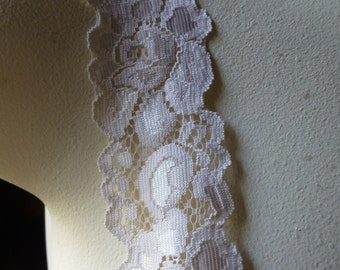 3 yds. Ivory Blush Stretch Lace for Lingerie, Headbands, Garters STR 1013ivbl