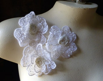 3 White Embroidered Flower Appliques for Bridal,  Headbands, Garments