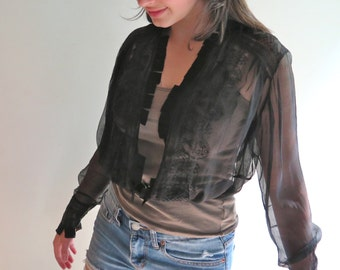 """Antique Silk Blouse in Sheer Silk Victorian Mourning Blouse 27.5 """" Waist"""