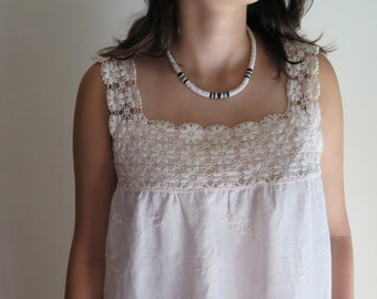 Linen and Lace Nightgown Embroidered Linen in Ivory with Vintage Crocheted Neckline OOAK