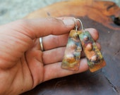 Copper and Sterling Silver Earrings:  Heat Patina Finish