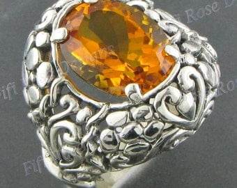 Adorable Citrine 925 Sterling Silver Sz 7 Ring