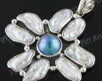"2 9/16"" Blue Mabe Pearl White Biwa Freshwater Pearl 925 Sterling Silver Pendant"