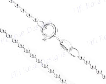 "20"" 1.5mm Genuine Italian 925 Sterling Silver Ball Chain Necklace"