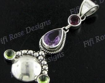"""1 15/16"""" Tourmaline Amethyst Peridot 925 Sterling Silver Pendant"""