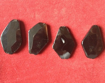Lot of 4 big faceted black beads