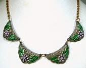 1930's SWEET Painted Link Necklace with Lavender n Green Flowers, Art Nouveau Dark n Shabby, Loved, Used, Waiting for Another Life