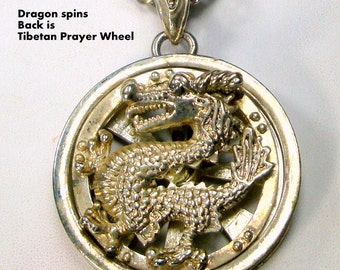Tibetan Dragon Prayer Wheel Pendant, Front Turns Around and Around, On Thick Silver Chain, Man or Woman, ASIAN, Chinese, 1980s