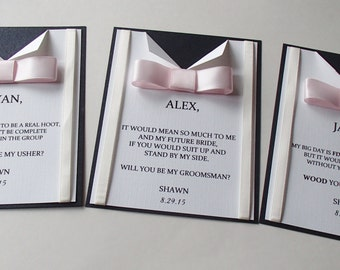 Suspender and Bow Tie card for wedding- Will You Be My Best Man, Groomsman Card- Usher-Ring Bearer- Thank you- Vintage look