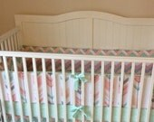 Peach Gray Coral and Mint Arrows Crib Bedding Set DEPOSIT