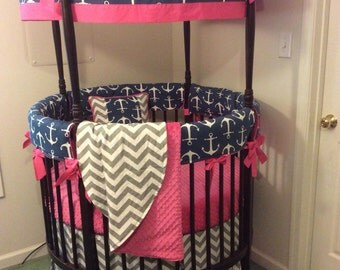DEPOSIT Navy and Hot Pink Anchor Round Crib Bedding Made To Order