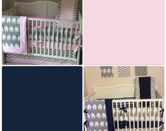 DEPOSIT Crib Bedding Set Girl Boy Twins Pink Navy Gray