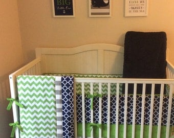 Baby Boy Crib Set Navy Kelly Green and Gray Quatrefoil and Stripes